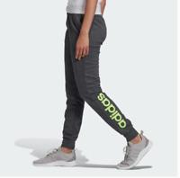 New Women's Adidas Essentials Gray Lime Green Sweatpants Medium Large