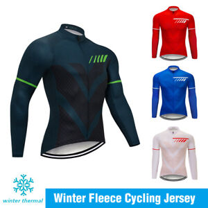 Men's Team Winter Riding Cycling Fleece Jersey MTB Uniform Bicycle Clothing Warm