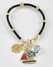 Nautical Boat Anchor Bracelet Ship Wheel Gold Crystal Charm Black Leather