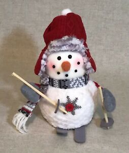 "New 8"" Snowman Skier Gray Scarf Red Hat Poles Skies Christmas Tree Ornament"