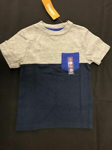 NWT Gymboree Boys Soft Gray & Blue Colorblock Pocket Tee Shirt Size 4