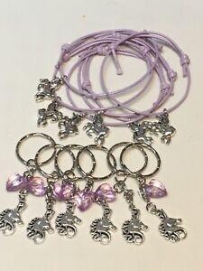 Unicorn Party Bag Fillers Friendship Bracelets & Keyrings X 12 Pieces FREEPOST