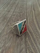 VINTAGE 1980'S WHITE BRONZE ROCK & ROLL LIGHTNING BOLT INLAY MENS RING SZ.9