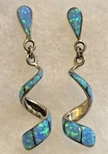 Inlay Blue Fire Opal Sterling Silver Spiral Post Dangle Earrings Signed LU
