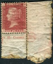 Sg 43 1d Red Plate 224.  A corner marginal example, re-enforced in the margin