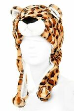 Tan Brn Leopard Print Animal Hat. Warm Headwear Unisex Teen Adult size.