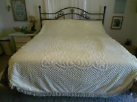 "Vintage Chenille Twin Bedspread Pale Yellow 78"" x 103"" W/Fringe Floral Pattern"