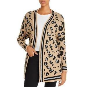 Vintage Havana Womens Brown Animal Print Open Front Cardigan Sweater M BHFO 4283