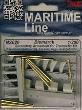 CMK Bismarck secondary Armament tubos de latón metal barriles 1:200 Trumpeter Kit