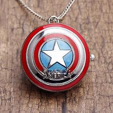Steampunk the Captain America Quartz Pocket Watch Pendant Necklace Mens Gift
