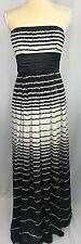 BCBG Maxazria Woman Maxi Dress Size 02 Long Strapless 100% Silk Black White Prom