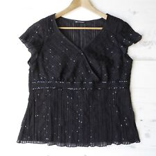 M&S AUTOGRAPH Black Net Sequin Top Stretch Crossover Embroidered Trim Party 20