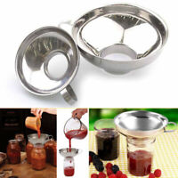 Stainless Steel Wide Mouth Canning Jar Funnel Cup Hopper Filter Kitchen Tools GW