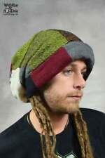 DREADLOCK BEANIE HAT Rasta Extra Large Patchwork Wool Hippy Psytrance Festival
