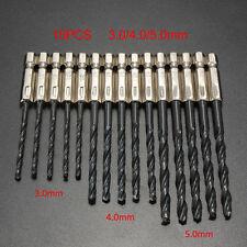 """15tlg 3MM、4MM、5MM 1、4"""" Spiralbohrer Sechskant Schaft HSS Metall Bohrer Set Neu."""