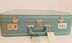 Vintage Travel Joy Suitcase, Blue Cover and Purple Inlay, With Key, 1960s