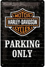Harley Davidson Parking Only embossed metal sign 300mm x 200mm (na)  UK dispatch