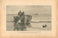 Femmes de Pêcheurs Poussant la Barque Charles Roussel peintre GRAVURE PRINT 1913
