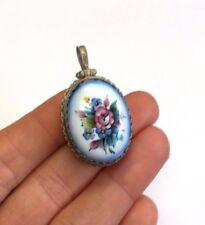 Russian Painted Porcelain Rose Bouquet  Egg Pendant