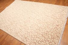 6' x 9' Botanical Hand Knotted Area Rug 100% Wool AOR8618 6x9 Taupe