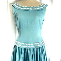 Vintage 1960s Sleeveless Fitted Cotton Peplum Dress Blue White Floral Trim