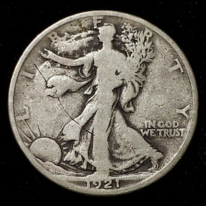 1921-D RARE Walking Liberty Silver Half Dollar - Obv/Rev Scratches Good Details