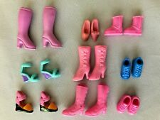 """Pinks Blues Whites 1/2"""" Barbie Doll Shoes & Boots Assortment - Lot of 9 Pairs"""
