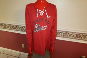 New Women's Majestic NFL Tampa Bay Buccaneers Lace-Up V-Neck SWEATER SIZE LARGE
