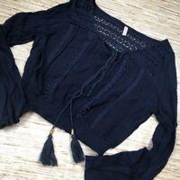 N-111 Raga boho Peasant Blouse Blue Long Sleeve Crochet Tassel Tie Keyhole Top L