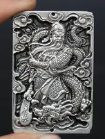 """2.8"""" Chinese Miao Silver Buddhism Kwan-yin Guan Yin Boddhisattva Amulet Pendant"""