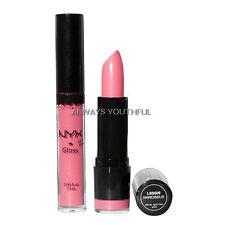 NYX Lipstick Round LSS509 Narcissus & Ballerina Pink Rose RLG36 Lipgloss Set