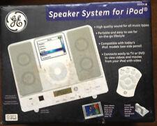 New White GE Speaker System Dock Apple iPod / Mini 98909 w Remote & S-Video