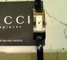 Gucci 3900L orologio donna quarzo nuovo acciaio cinturino pelle nero  -40%