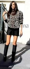 Celine AUTH NWT Leopard Animal Textured Knit Pullover Sweater Top M Phoebe Philo