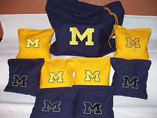 Michigan Embroidered Cornhole Corn Hole Bags Set of 8 w/ Storage Bag