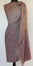 Large Jamavar Wool Shawl Peach & Gray Paisley Reversible,Jamawar Pashmina Stole