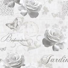 Muriva Botanical Garden Wallpaper 127501 Script Rose Butterfly Grey Silver