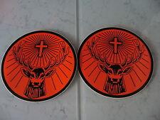 """2x Jagermeister Sticker 5.5"""" Rudi Sticker Orange/Black Jägermeister"""