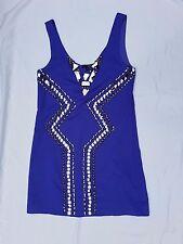 EX CON Ladakh Size 8 Dress Purple Beaded Smock Babydoll Mini Sleeveless