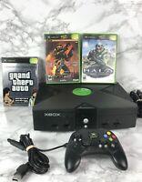 Original XBOX Video Game Console Bundle Halo 1&2, Grand Theft Auto 3 Vice City