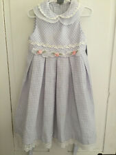 BONNIE JEAN GIRLS SLEEVELESS LT PURPLE/WHITE DRESS  BACK TIE  SIZE 5