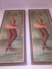 Vintage Maio Litho Ballerina Girl Print Wall Hanging Plaque Mid Century Mod 2pcs