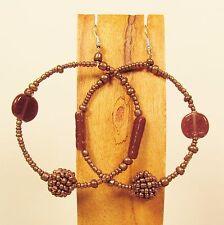 "2"" Copper Color Mixed Bead Boho StyleHandmade Seed Bead Round Hoop Earrings"