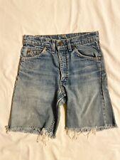 "Vintage 1980s Levi's Orange Tab High Waist Cutoff Jean Shorts Blue Denim Sz 26"""