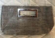 New Michael Kors Gray Snake Skin Clutch with Nickel Hardware