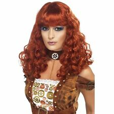 Ladies Auburn Red Steam Punk Wig Long Wavy Curly Curl Fancy Dress Wig Cosplay