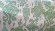 HEAVY  IKAT WOVEN CREWEL TAPESTRY AQUA  LIME WHITE UPHOLSTERY FABRIC