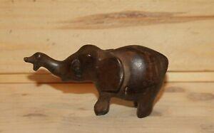 Vintage hand carving wood elephant figurine