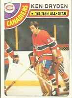 1978-79 Topps Hockey Ken Dryden Montreal Canadiens All-Star Card #50