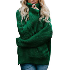 Women Casual Knitted High Neck Long Sleeve Cable Knit Jumper Chunky Sweater Tops